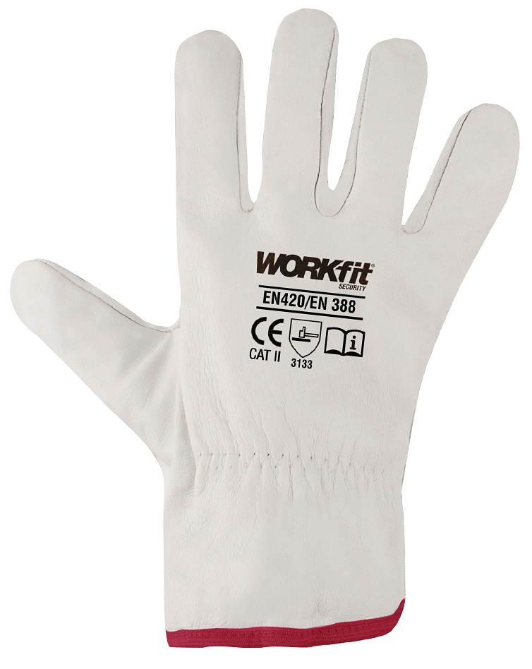 Par Luvas de Protecção em Couro Branco (Tamanho 9) - WORKFIT