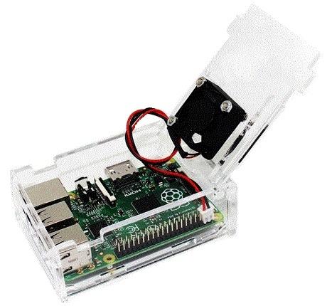 Caixa Transparente + Ventilador para Raspberry Pi Model B+ /  Pi 2 B / Pi 3