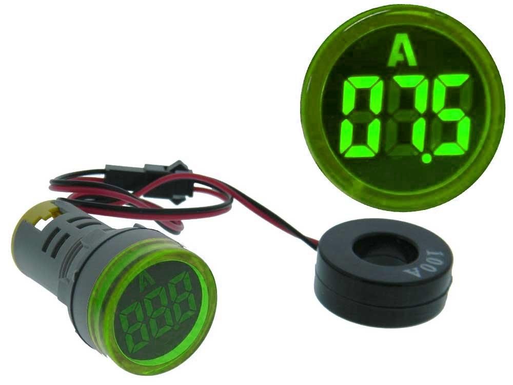 Amperímetro Digital LED Redonto Verde p/ Painel (0...100 Amp.) - ProFTC