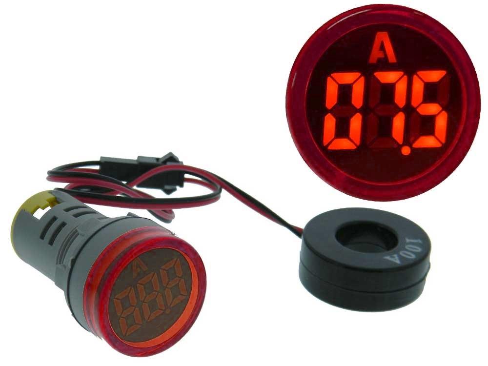 Amperímetro Digital LED Redonto Vermelho p/ Painel (0...100 Amp.) - ProFTC