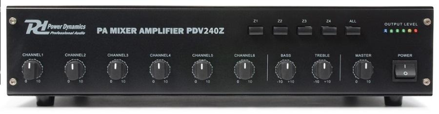 Amplificador Linha 100V 240W RMS c/ 4 Zonas (PDV240Z) - Power Dynamics