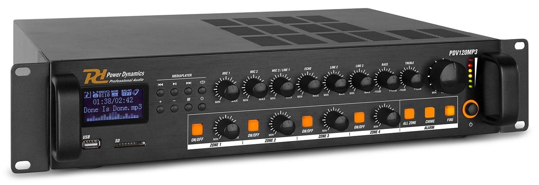 Amplificador Linha 100V 120W RMS c/ 4 Zonas MP3/USB/SD/FM/BLUETOOTH (PDV120MP3) - Power Dynamics
