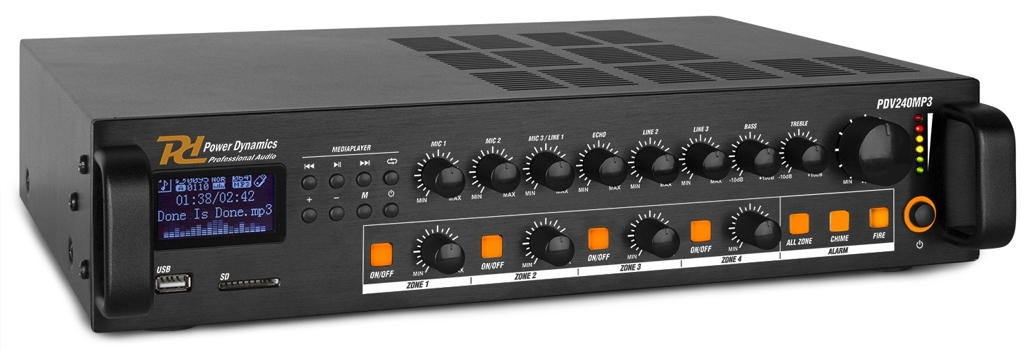 Amplificador Linha 100V 240W RMS c/ 4 Zonas MP3/USB/SD/FM/BLUETOOTH (PDV240MP3) - Power Dynamics