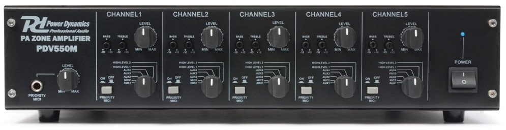 Amplificador Matrix Linha 100V 5x 50W RMS c/ 5 Zonas (PDV550M) - Power Dynamics