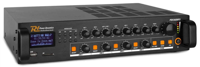 Amplificador Linha 100V 360W RMS c/ 4 Zonas MP3/USB/SD/FM/BLUETOOTH (PDV360MP3) - Power Dynamics