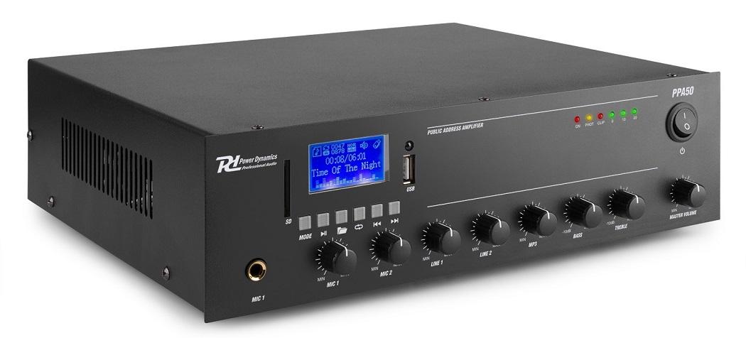 Amplificador Linha 100V 50W MP3/USB/SD 12/220V (PPA50) - Power Dynamics