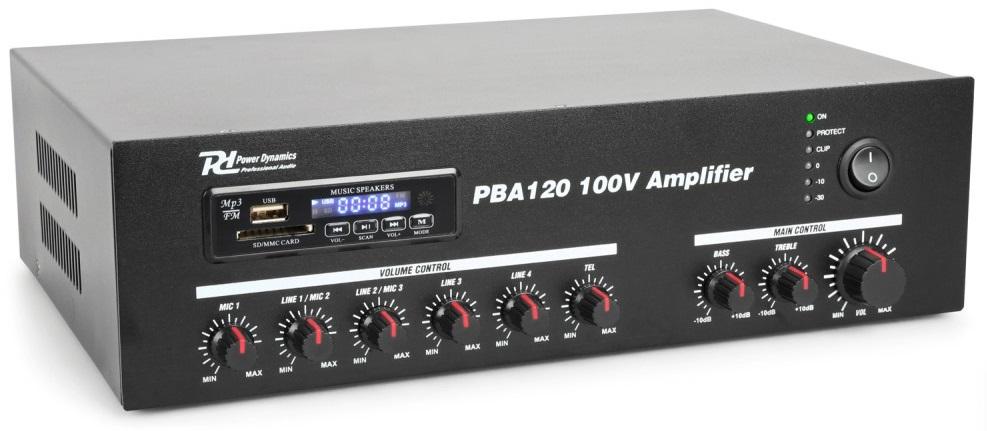 Amplificador PA 120W RMS (100V) com MP3 USB/SD/BLUETOOTH (PBA120) - Power Dynamics