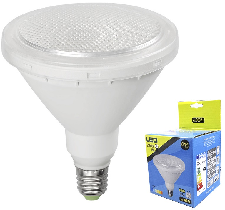 Lampada LED 220V PAR38 E27 15W Branco F. 6000K 1200Lm IP65 (Exterior) - EDM