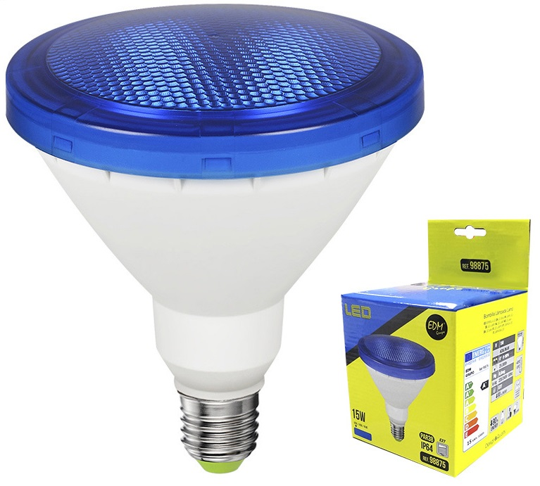 Lampada LED 220V PAR38 E27 15W Azul 1200Lm IP65 (Exterior) - EDM