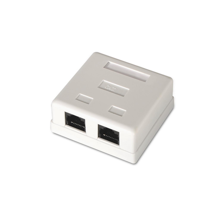 Caixa p/ Tomada RJ45 c/ 2 Conectores UTP Cat6 (Branco) - AISENS