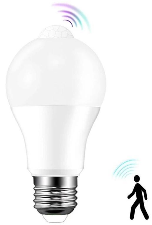Lampada LED E27 A60 220V 10W Branco 4000K 810Lm c/ Sensor Movimento PIR - WELL