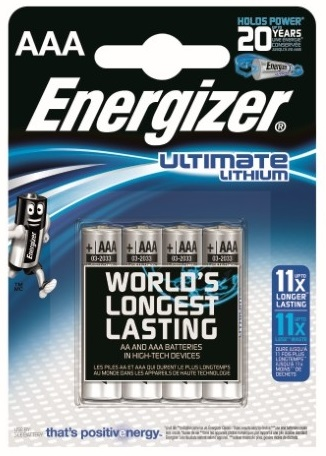 Blister 4 Pilhas Lithium Ultimate AAA LR03 1,5V - ENERGIZER