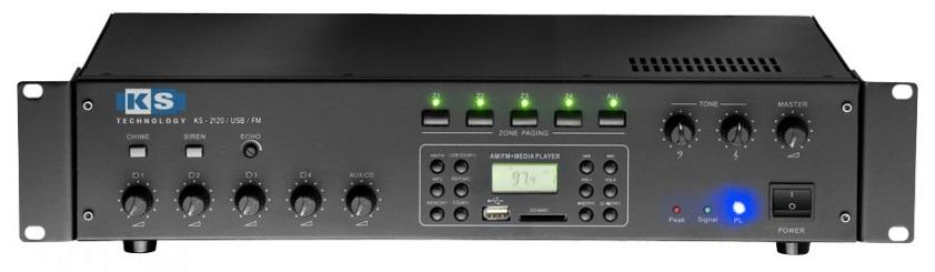 Amplificador PA 120W RMS (4 Zonas) com MP3 USB/SD, AM/FM - ACOUSTIC CONTROL