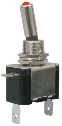 Interruptor Alavanca Luminoso (ON-OFF) 12VDC/25A - LED Vermelho