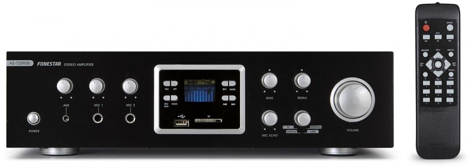 Amplificador Stéreo Função Karaoke 2 x 60W RMS c/ Rádio e USB/SD/MP3/BLUETOOTH - FONESTAR