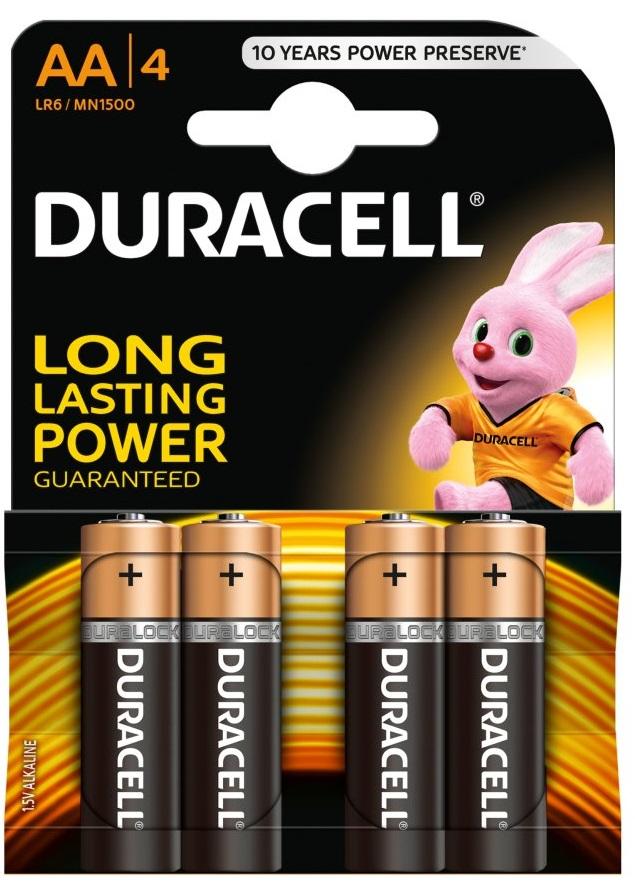 Blister 4 Pilhas Alcalinas 1,5V LR06 AA - Duracell