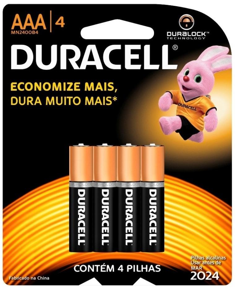 Blister 4 Pilhas Alcalinas 1,5V LR03 AAA - Duracell