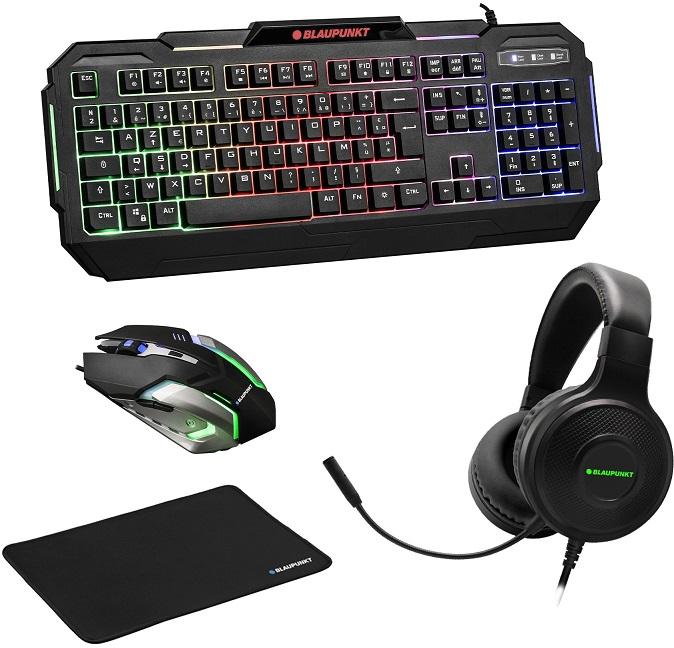 Pack Gaming 4-EM-1 (Teclado + Rato + Ascultadores Headset + Tapete) BLP1950 - BLAUPUNKT