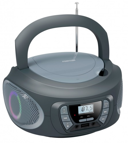 Rádio FM 2x 6.5W c/ MP3/CD/USB/Aux + Efeitos LED (Cinzento) - FONESTAR