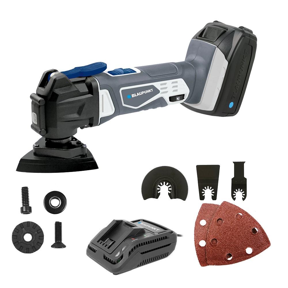 Ferramenta s/ Fios (Lixa/Cortadora/Rebarbadeira) c/ Acessórios + Bateria + Carregador - BLAUPUNKT