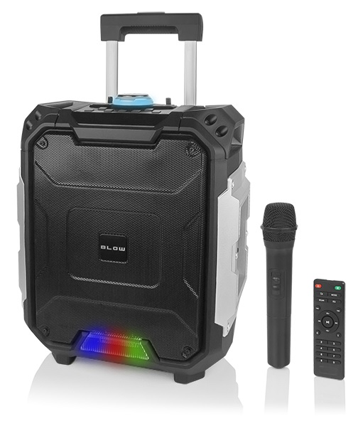 Coluna Amp. Portátil 8+2 100W MP3/USB/SD/BLUETOOTH/FM/Karaoke c/ Micro s/ Fios e Comando - BLOW