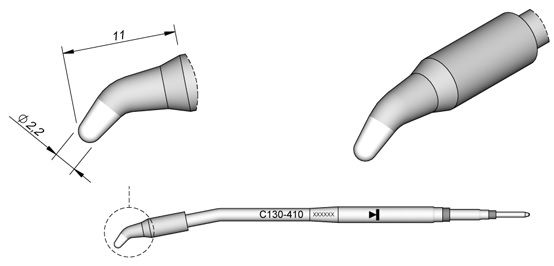 Ponta p/ Ferro Soldar AP130 (2,2mm) - JBC