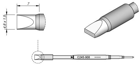 Ponta p/ Utensilio de Mão T245-PA (4,8 x 1,5mm) - JBC
