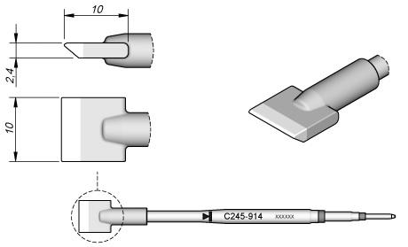 Ponta p/ Utensilio de Mão T245-PA (10 x 2,4mm) - JBC