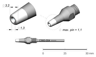 Bico Dessoldar p/ Dessoldador DR560 (Ø1,3 x Ø3,2mm) - JBC