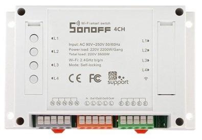 Comutador / Interruptor 4 Canais s/ Fios WiFi p/ Domótica Comp. Amazon Echo, Google Home - Sonoff