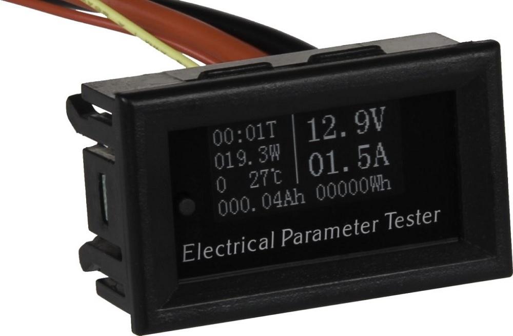 Voltímetro/Amperímetro Digital OLED 0,36 (0...9,99VDC / 0...20Amp) c/ Med. Temperatura - ProFTC