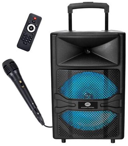 Coluna Amp. Portátil 12 50W c/ Efeitos LED USB/SD/MP3/FM/BLUETOOTH - ACOUSTIC CONTROL