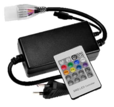 Controlador de Fita de LEDs RGB e NEON 220V c/ Comando à Distância