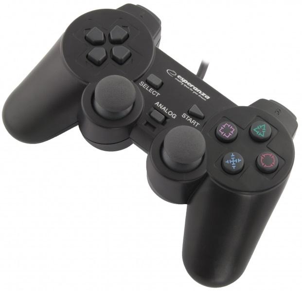 Comando GAMEPAD c/ Vibração para PS2/PS3/PC - ESPERANZA