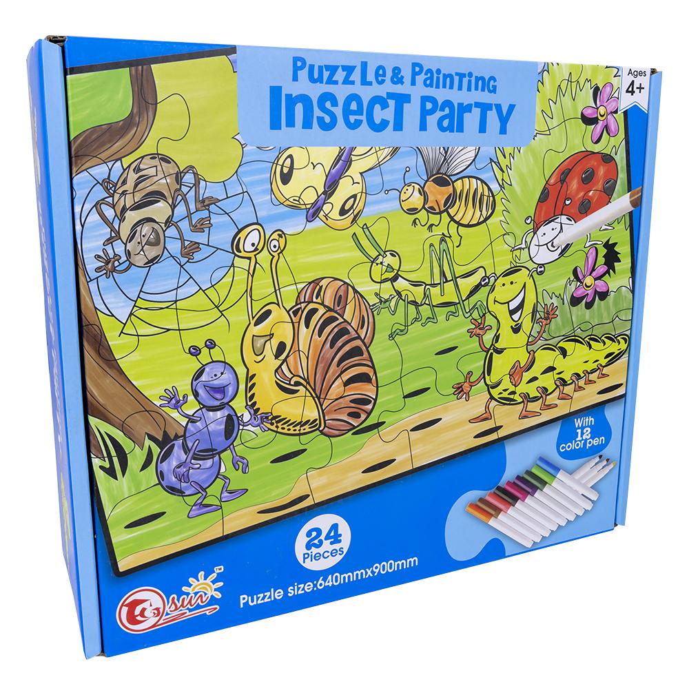 Puzzle Insect Party Pintar c/ 12 Marcadores (24 Peças) - ProFTC