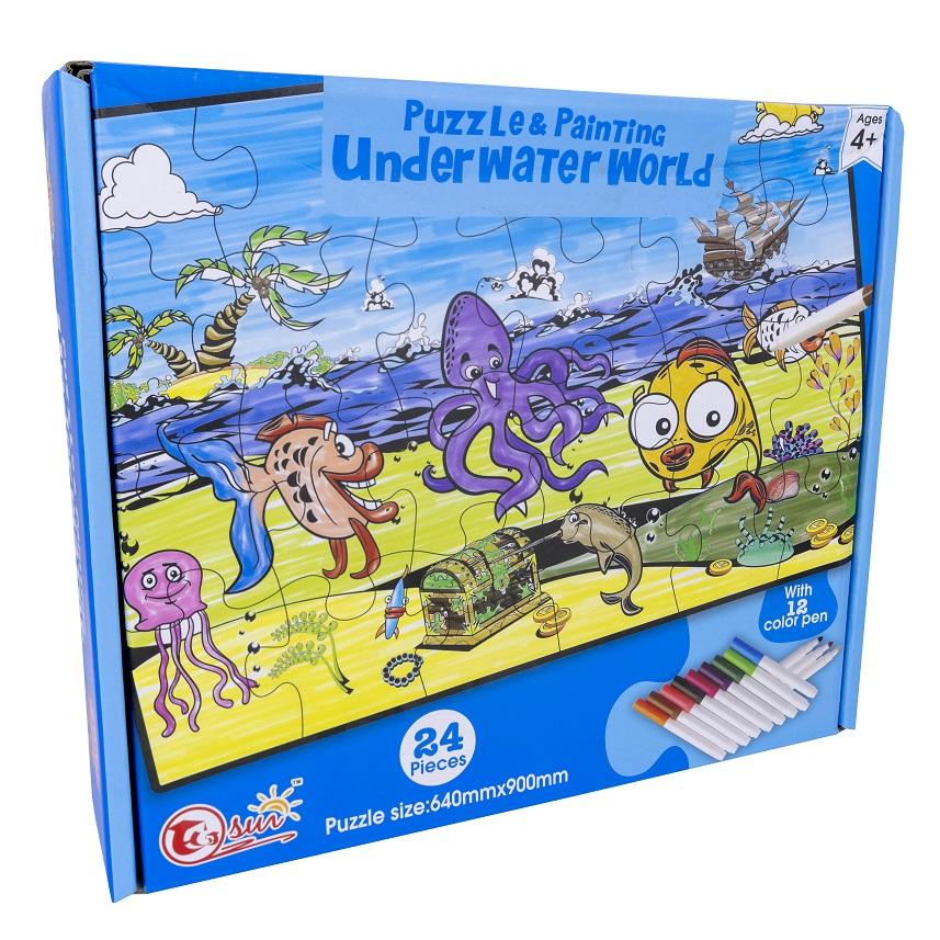 Puzzle Under Water World Pintar c/ 12 Marcadores (24 Peças) - ProFTC