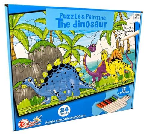 Puzzle The Dinosaur Pintar c/ 12 Marcadores (24 Peças) - ProFTC