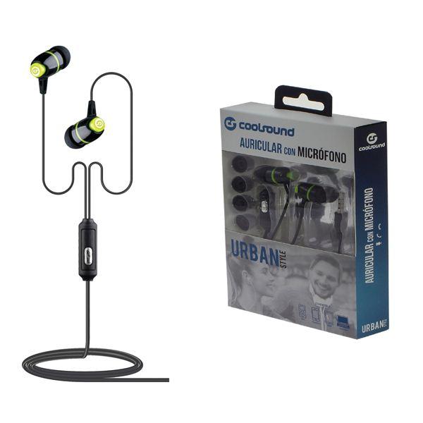 Auriculares Desportivos c/ Microfone Urban Mic (Verde) - COOLSOUND