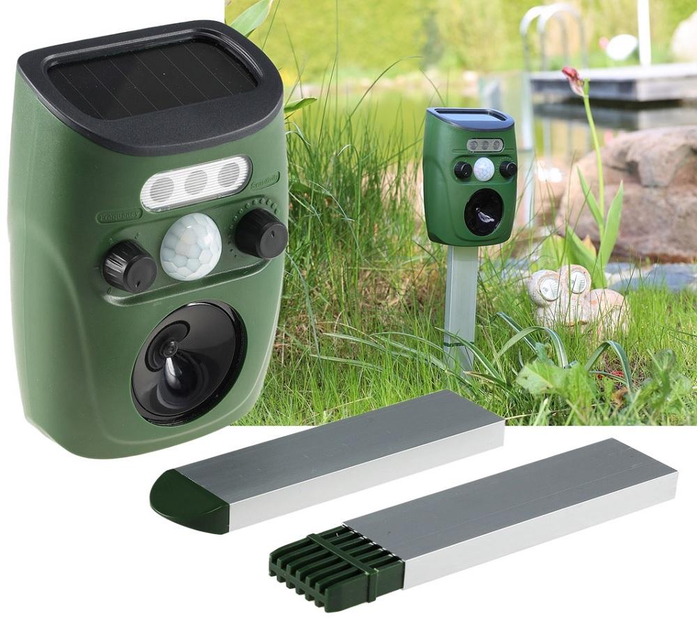 Detector Movimento/Repelente Solar Ultrasónico de Animais p/ Jardim (Cães, Gatos, Pássaros) - ProFTC