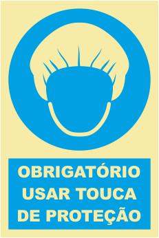 Sinal de Obrigação de Uso Touca de Protecção - Fotoluminescente (150mmx200mm)
