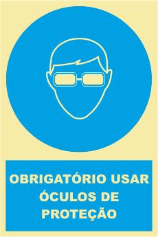 Sinal de Obrigação de Uso de Óculos de Protecção - Fotoluminescente (150mmx200mm)