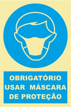 Sinal de Obrigação de Uso de Máscara de Protecção - Fotoluminescente (150mmx200mm)