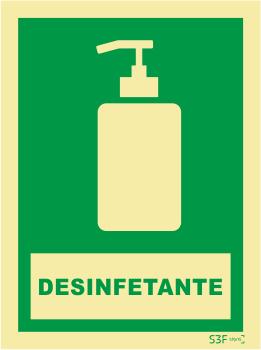 Sinal de Informação de Desinfetante - Fotoluminescente (150mmx200mm)