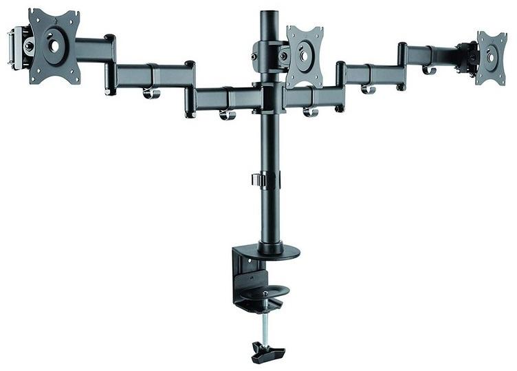 Suporte de Mesa p/ 3x Monitores/TV´s 13~27 (Preto) - TooQ