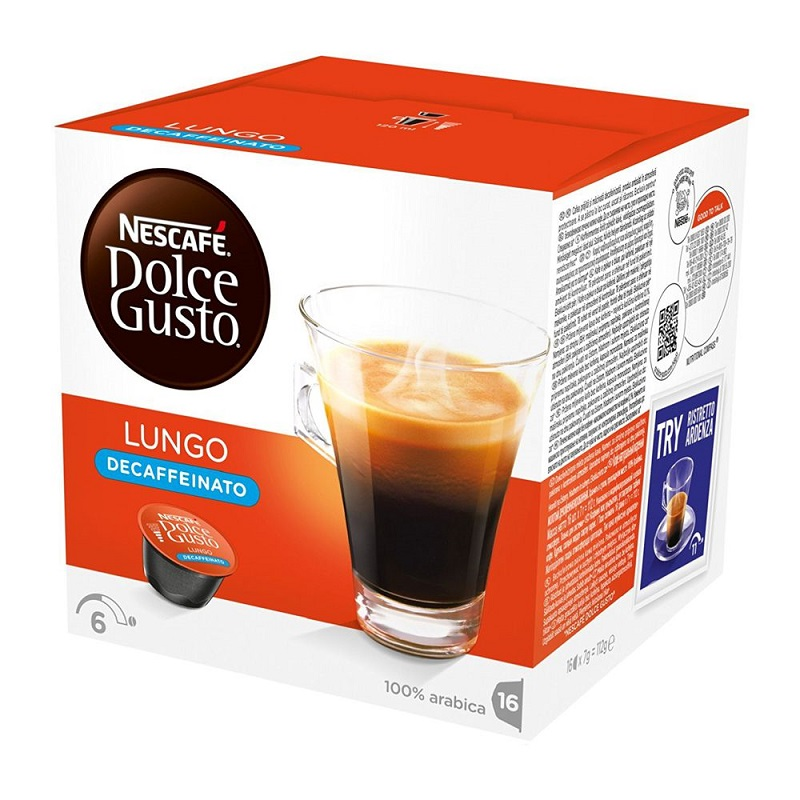 Caixa de 16 Cápsulas de Café Lungo Descafeinado (Intensidade 6) - DOLCE GUSTO