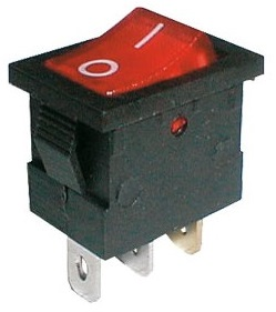 Interruptor DPST ON-OFF Luminoso 3 Ligações 6A / 250VAC - Vermelho