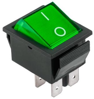 Interruptor Bipolar 2C - 2P 16A - 250V - Verde Luminoso