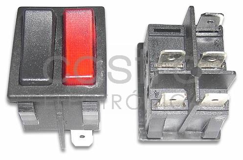 Interruptor Duplo Preto/Vermelho (1 Luminoso) 16A