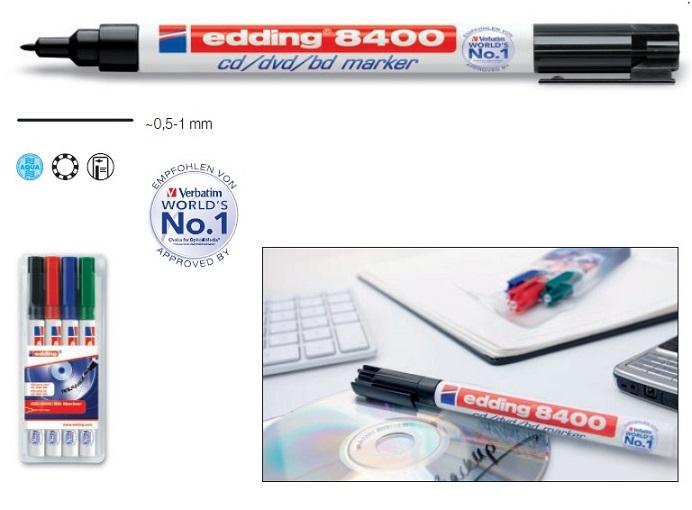 Caneta p/ Marcação CDs, DVDs e BDs (0,5~1mm) - Edding 8400