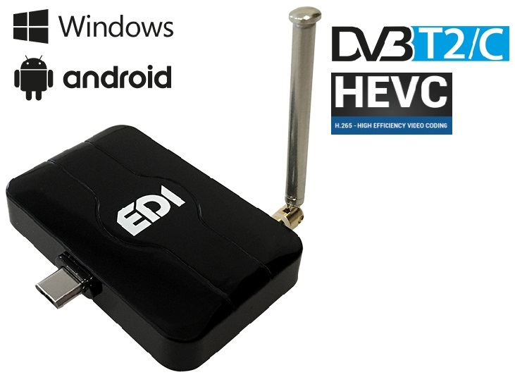 Receptor COMBO FullHD (CABO DVB-C + TDT DVB-T2) USB p/ PC, Tablets, SmartTVs, Smartphones - EDISION